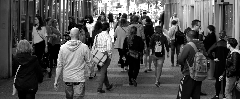 People walking on a busy street